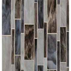 Bedrosians Retrospect Linear Random Sized Glass Mosaic in Blue Velvet