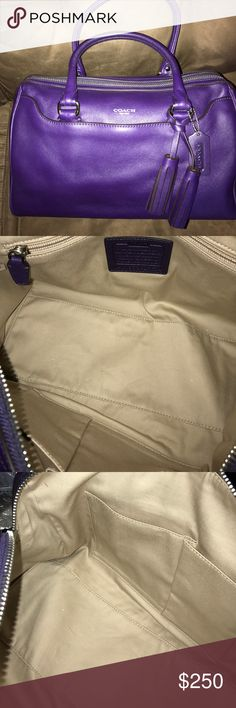 NWOT COACH leather satchel Vibrant purple color with silver hardware on this handbag that measures 13x8x7. Comes with matching tassel, keychain, and dustbag COACH Bags