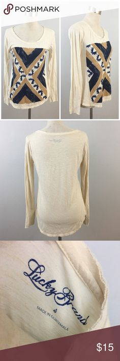 Lucky Brand Oversize Boho Long Sleeve T Shirt Top Lucky Brand Oversize Boho Long Sleeve T Shirt Top. Size small with stretch. Thank you for looking at my listing. Please feel free to comment with any questions (no trades/modeling).  •Fabric: Cotton Blend  •Condition: Excellent, no visible flaws.   ✨Bundle and save!✨10% off 2 items, 20% off 3 items & 30% off 5+ items! HC Lucky Brand Tops Tees - Long Sleeve