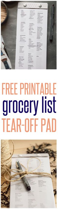 FREE PRINTABLE | Grocery List Tear-Off Pad ~ There is something so satisfying about checking off an item on a list! At $2 a piece, these pads would also made a great gift for a friend, neighbor, or co-worker. It even has a magnet on the back so it'll stay on the fridge!