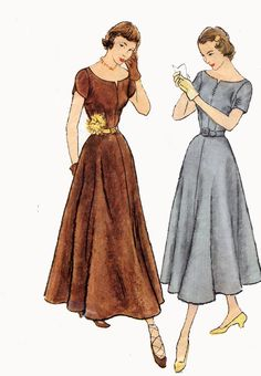 Vintage 1940s Dress Day Evening Fit & Flare Ballet Length Bateau Neck Simplicity Designer 8186 40s Swing Era Sewing Patterns Size 12 B30 by sandritocat on Etsy