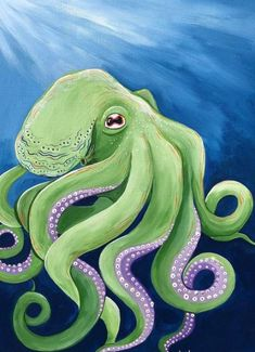 Green octopus painting on canvas board. Colored vibrantly using acrylic paints. Perfect for any ocean or animal enthusiast! Octopus Painting, Octopus Art, Fish Art, Artist Painting, Fall Canvas Painting, Canvas Art, Kraken Art, Sea Life Art, Ocean Life