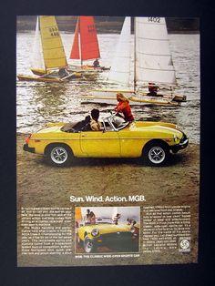 1978 MG MGB Yellow Car Photo Catamaran Sailboats Vintage Print Ad