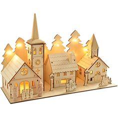 WeRChristmas 35 cm Pre-Lit Wooden Church and Village Scen...