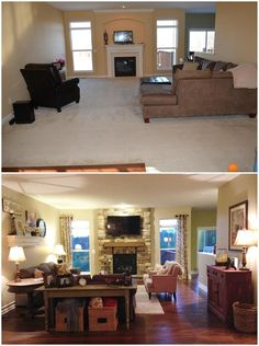 Trendy home improvement before and after living spaces 62 Ideas Home Living Room, Interior Design Living Room, Living Room Furniture, Living Room Designs, Living Room Decor, Living Spaces, Home Staging, Architecture 3d, Living Room Remodel