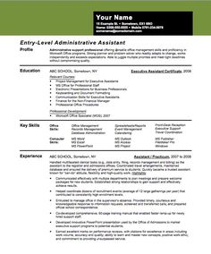 Resume Entry Level Template Pleasing Entry Level Administrative Assistant Resume  Administrative .
