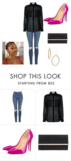 """""""Birthday Dinner"""" by catrina-currie ❤ liked on Polyvore featuring Topshop, Yves Saint Laurent, Christian Louboutin, Jimmy Choo and Bony Levy"""