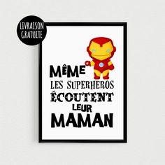 """Poster A3 super héro pour enfant """"Même les superhéros écoutent leur maman"""" - Affiche citation de super héros"""