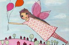 Flying fairy nursery decor girl nursery art baby girl by Sascalia Fairy Nursery, Baby Girl Nursery Decor, Fairy Paintings, Nursery Paintings, Kids Room Wall Art, Nursery Wall Art, Art Bloc, Princess Painting, Fairytale Art