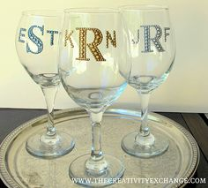 Monogram wine glasses - if DIY could be affordable 2 in 1 wedding gifts at guests' seats