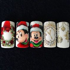 Best nails new years eve 2017 ideas Elegant Nail Designs, Winter Nail Designs, Winter Nail Art, Christmas Nail Designs, Winter Nails, Nail Art Designs, Disney Christmas Nails, Xmas Nails, New Year's Nails