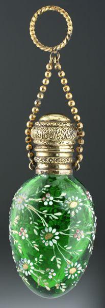 c.1890 Green Glass Scent Perfume Bottle with Raised Enamel Floral Decoration #antique #vintage #perfume #scent #bottle
