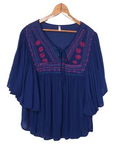"Boho Embroidered Lace up Peasant Top Sz S Japana Flowing Poncho Shirt Small 39""  #Japana #Blouse #Casual"