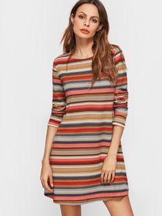 A-Linie Kleid 2017 mit Streifen langarm Bunt