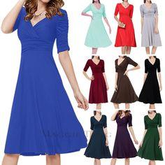 Maggie Tang Fashion High Waist Half-Sleeve Deep V-Neck Swing Solid Evening Dress