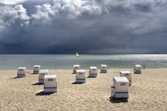 Sylt Nordseeinsel Germany. Strandkörbe.