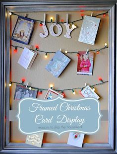 Rather than showing off your Christmas cards on a windowsill, hang string lights within an empty frame, then clip your cards to it using mini pegs.  Get the tutorial at Reasons to Skip the Housework.  MORE: 12 home Christmas decoration ideas inspired by nature and the outdoors