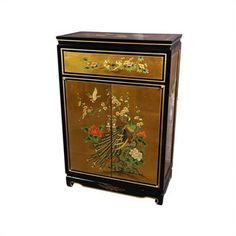Oriental Furniture Asian Leaf Shoe Cabinet