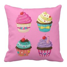 Cupcake pillow from Layerform Designs. Amazing cupcake merchandise and cupcake products