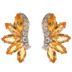 Vivid Yellow Sapphire & Diamond Earrings by ALETTO BROS.
