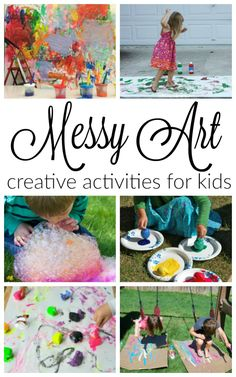 Art Activities for Kids 10 awesomely messy art activities for kids! These process art activities are great for awesomely messy art activities for kids! These process art activities are great for preschoolers. Camping Activities For Kids, Creative Activities For Kids, Kids Learning Activities, Creative Kids, Sensory Activities, Sensory Play, Kinesthetic Learning, Party Activities, Toddler Activities