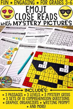 Educate students about emojis with this themed set of close reading comprehension passages that include mystery pictures! Perfect for whole group, small group, test prep, review, and more! Just print and GO! There are three DIFFERENT passages each DIFFERENTIATED at three DIFFERENT reading levels. There are two nonfiction texts and one fiction text. Each text comes with 10 text dependent questions, a writing prompt, graphic organizers, and a mystery grid picture.