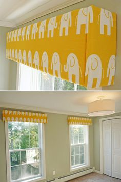 DIY window cornices!! Ours look beautiful...easy instructions and we chose green fabric instead :)
