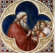Giotto e bottega - Eliseo accolto come successore di Elia. Padova, Cappella degli Scrovegni, navata, parete nord | da renzodionigi