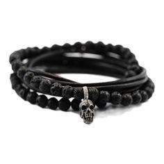 Awesome Etsy listing at https://www.etsy.com/pt/listing/227639175/skull-bracelet-mens-wrap-bracelets-lava