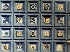 Metro Colégio Militar / Luz underground station, Lisbon, PORTGAL. Tiles by Manuel Gargaleiro.