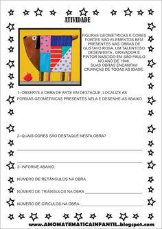 Atividade Formas e Cores Gustavo Rosa Holga, Kids Education, Art For Kids, Children, School, Reading Activities, Kids Learning Activities, Visual Art Lessons, Sight Word Activities