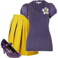 Purple and mustard yellow colour combo