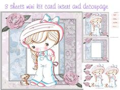 Izzy to cute mini kit on Craftsuprint designed by Cynthia Berridge - Izzy to cute mini kit card insert and decoupage - Now available for download!