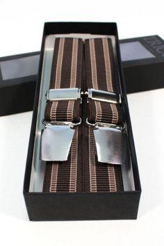 Trico Hollaender Suspenders Dark Brown/Brown Stripes : SUNSETSTAR Edwin Jeans, Universal Works, Red Wing Shoes, Japanese Denim, Workout Accessories, Brown Brown, Vintage Inspired Dresses, Suspenders, Old School