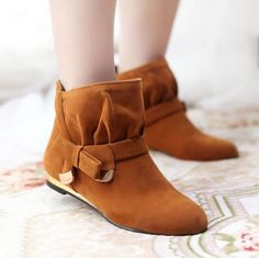 2014 Womens Flat Ankle Boot Bowknot Buckle Metal Pull On Cute Roma Fashoin Shoes