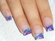 colour acrylic french marbling - Nail Art Gallery