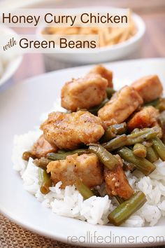 Baked Honey Curry Chicken with Green Beans. My family licks the pan clean every time I make this. | reallifedinner.com