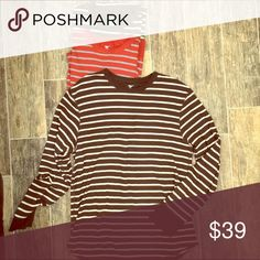 Trio Set Off GAP Men's long Sleeve Stripe Shirt XL GAP Men's long sleeve striped thermal shirts in three colors. Hunter Green/White. Burnt Orange/Gray. Brown/White. Listing price includes all three shirts. If you would like just one shirt, please specify in comments and we can work something out. sold as Men's XL, but can go unisex. Barely worn. Excellent condition. GAP Shirts Tees - Long Sleeve