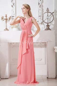 Watermelon Chiffon V-neckline A-line Full Length Mother Of The Bride Dresses Sleeveless