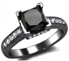 1.90ct Black Princess Cut Diamond Engagement Ring 14k Black Gold / Front Jewelers