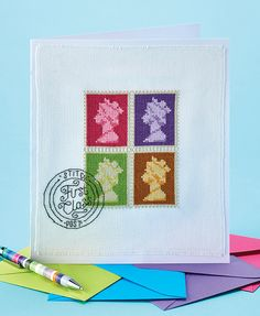 """""""Simply first class!"""" This stamp design card featured in issue 253 of Cross Stitch Collection. Back issues are available from http://www.crossstitchcollection.com/back-issues/"""