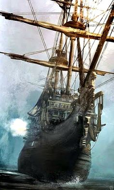 Ghost Ship - without sails hoisted, there be ghost winds moving her! But she be a real pirate ship, cuz she be a-firing her cannons from starboard. Prepare fer battle, me buckos! Bateau Pirate, Old Sailing Ships, Ghost Ship, Black Sails, Pirate Life, Tall Ships, Pirates Of The Caribbean, Water Crafts, Battleship