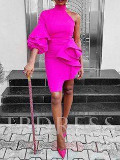 Silhouette: Asymmetrical Dress Length: Above Knee Sleeve Length: Three-Quarter Sleeve Sleeve Type: Lantern Sleeve Neckline:. Short Dresses, Prom Dresses, Dress Silhouette, Party Dresses For Women, Classy Dress, Asymmetrical Dress, Elegant Dresses, Chic Outfits, African Fashion