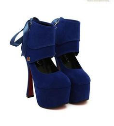 (21.44$)  Know more  - Women Sexy High Heels Platform Sole Ribbon Shoes Pumps Blue