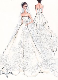 Custom Wedding Gown Illustration FRONT and by IllustrativeMoments, Wedding Dress Illustrations, Wedding Dress Sketches, Fashion Illustrations, Paper Fashion, Fashion Art, Bridal Dresses, Wedding Gowns, Dress Drawing, Fashion Design Sketches