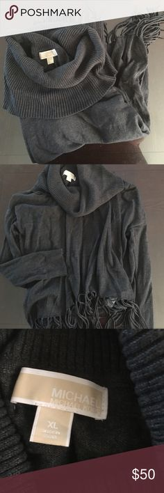 MK Fringe Turtleneck Sweater It's a loose turtle neck more like a cowl neck with fringe at bottom, super comfy and in great condition. Can fit a Large MICHAEL Michael Kors Sweaters Cowl & Turtlenecks