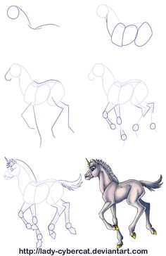 How To Draw A Baby Unicorn Tutorial by lady-cybercat on DeviantArt