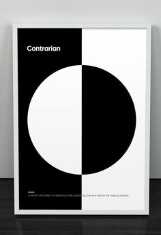 Mick Watson minimalist dictionary posters to teach his daughter words like contrarian