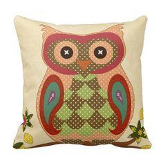Retro Bohemian Owl Throw Pillows #owls #pillows
