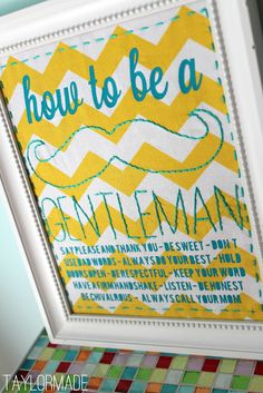 """How to be a Gentleman"" rules sign...so cute for a little boy's room/nursery"